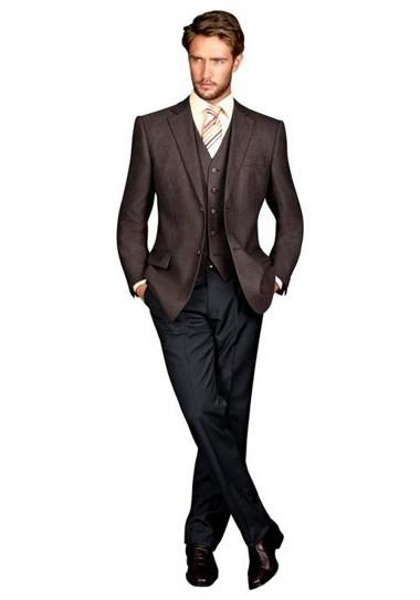 3-tlg-Wollanzug braun-schwarz von Studio Coletti