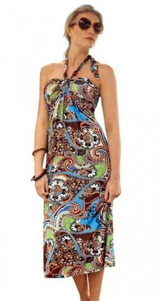 Neckholderkleid, braun-blau-bunt von Vivance Collection