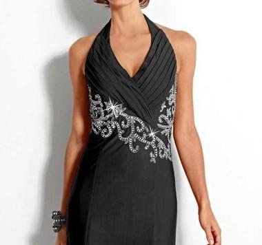 Abendkleid mit Perlen, schwarz von Heine