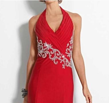 Abendkleid mit Perlen, rot von Heine