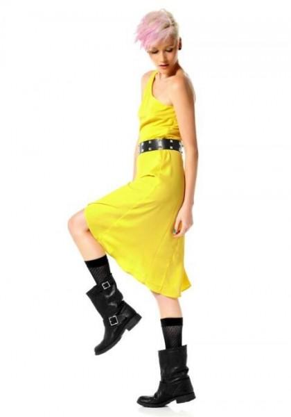 Asymmetrisches Marken-Kleid, gelb von Material Girl
