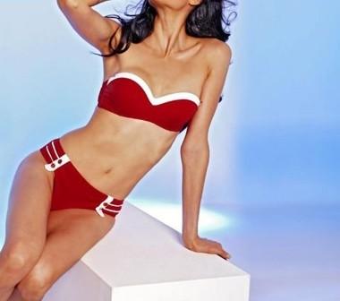 Bandeau-Bikini, rot-weiß von APART