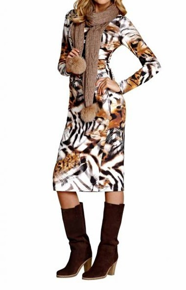 Animalprint-Jerseykleid, camel-bunt von APART