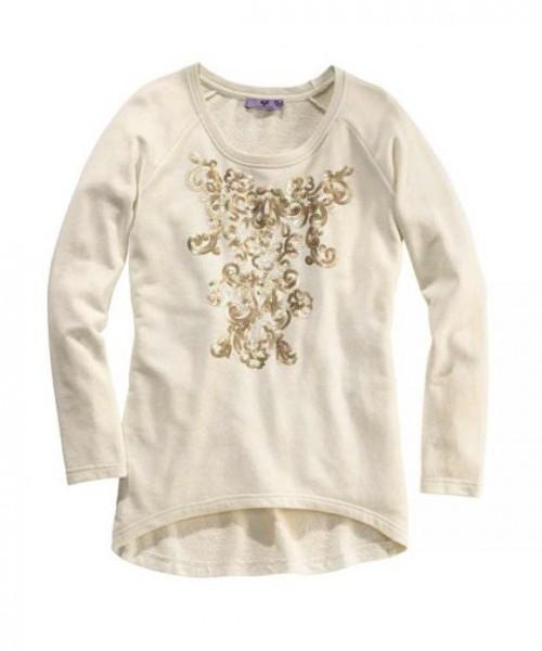 Sweatshirt mit Pailletten, ecru-gold von AJC