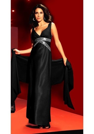Abendkleid mit Pailletten und Schal, schwarz von Laura Scott Evening