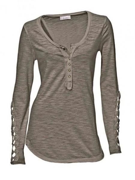 Shirt mit Spitze, taupe von Linea Tesini