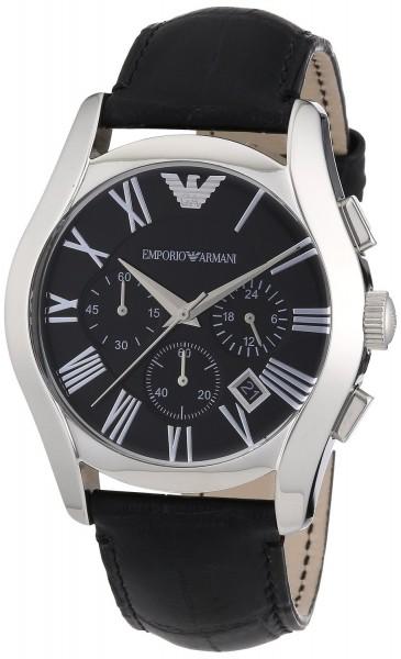 Emporio Armani Chronograph Uhr AR1633 Herrenuhr mit schwarzem Lederarmband