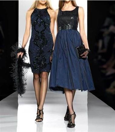 AbendKleid mit Pailletten, blau-schwarz von APART