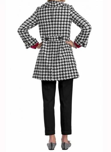 Hahnentrittmuster- Mantel, schwarz-weiß von APART