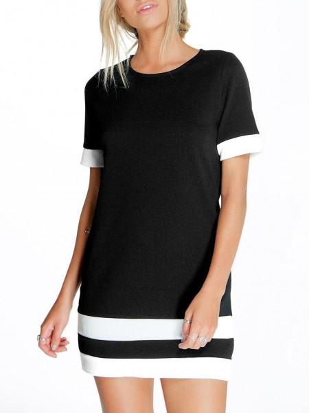 Kleid Kurzarm Mit Druck - Schwarz Und Weiß