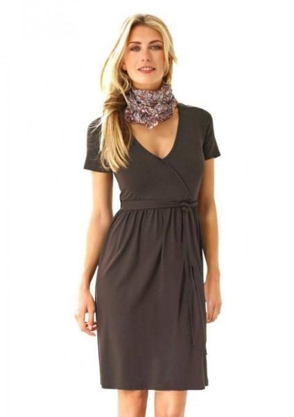 Kleid mit Bindegürtel, braun von Cheer