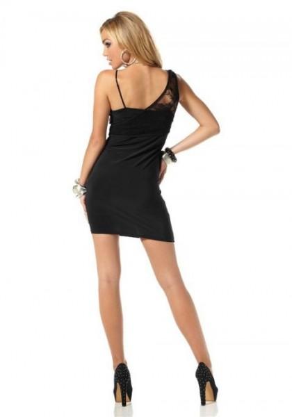 Kleid mit Spitze, schwarz-pink von Melrose
