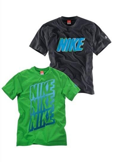 Shirts, schwarz + grün von NIKE