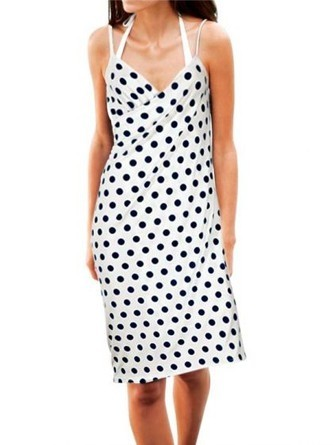 Pareo-Kleid, weiß-blau von Heine