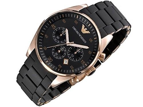 Emporio Armani Herren Uhr AR5905 mit Silikon Armband und Chronograph