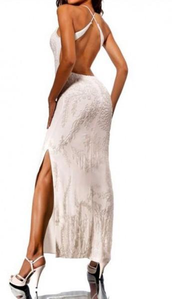 Kleid mit Perlen, creme von Heine
