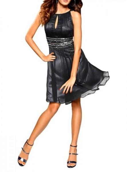 Kleid mit Pailletten, schwarz von Heine