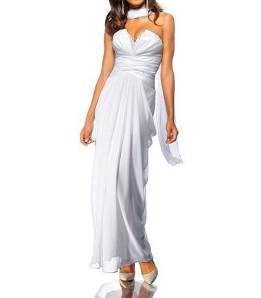 1244e85fde0223 Abendkleid mit Schal, weiß von Heine | MyOnlyShop | Myonlyshop