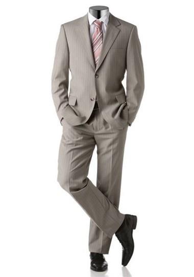 Schurwolle-Anzug, taupe gestreift von Studio Coletti
