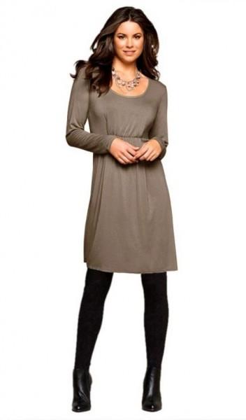 Kleid mit Raffungen, mokka von BOYSENS