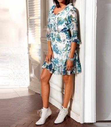 Designer-Druckkleid, weiß-bunt von Linea Tesini