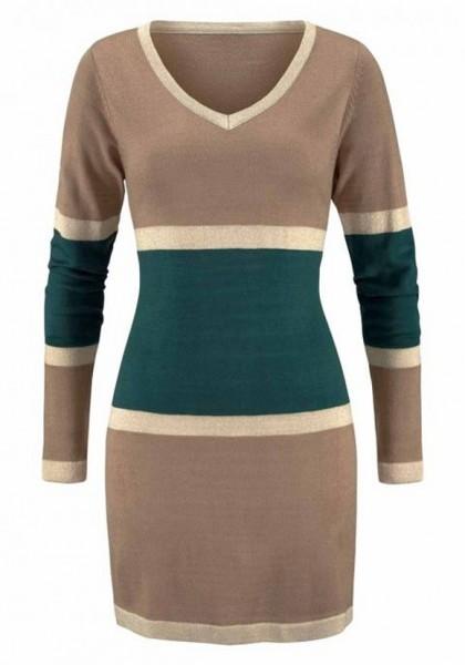 Streifen-Pullover, beige-grün-gold von Chillytime