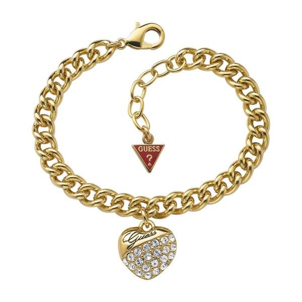 Guess Damen Armband Goldfarben mit Herzanhänger UBB70206