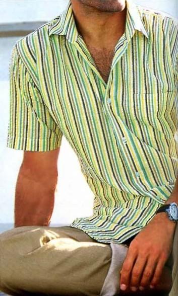 Hemd, gelb-grün-bunt gestreift von CASTELLANI