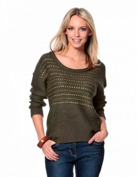 Pullover mit Nieten, oliv von Aniston