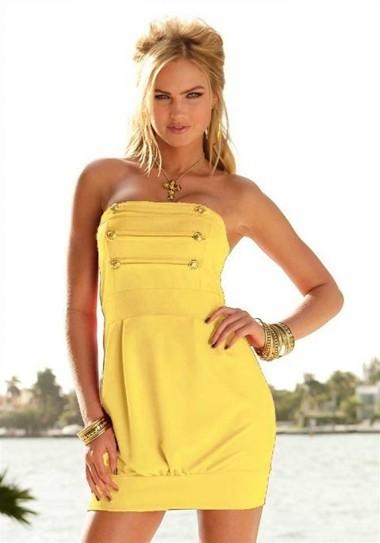Bandeau-Kleid, gelb von Melrose