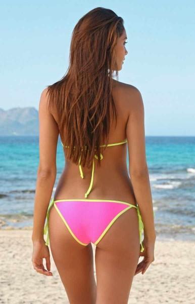 Sexy Bikini Triangel Top + Slip Neonpink Neongelb