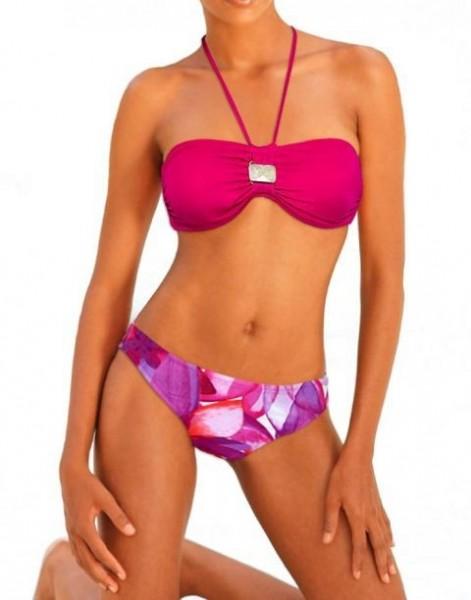 Bikini mit Schmuckstein, pink-bunt von BAMBOLA