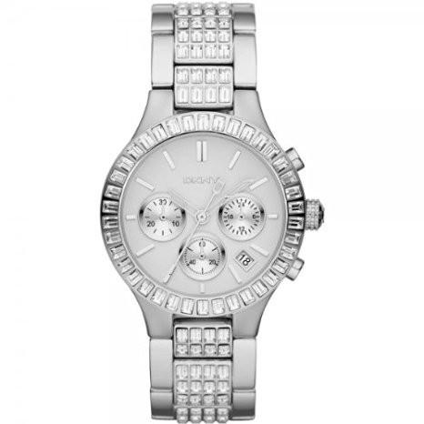 DKNY NY8315 Damen Armbanduhr silberfarben mit Strass