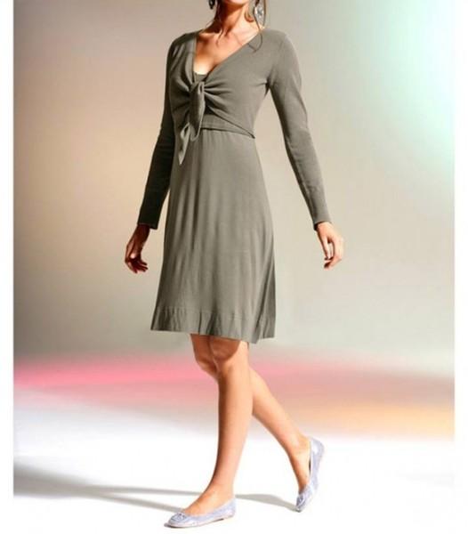Strick-Jersey-Kleid, khaki von Rick Cardona