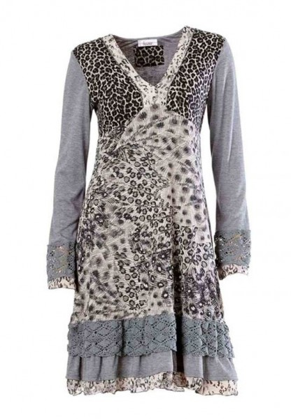 Animalprint-Kleid mit Spitze, grau von Linea Tesini