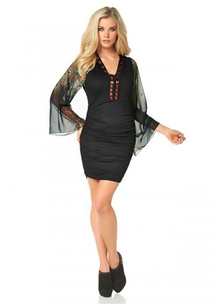 Tunika-Kleid mit Steinen, schwarz-bunt von Melrose
