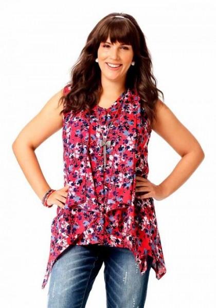 Asymmetrische Marken-Bluse, rot-bunt von Amy Jones