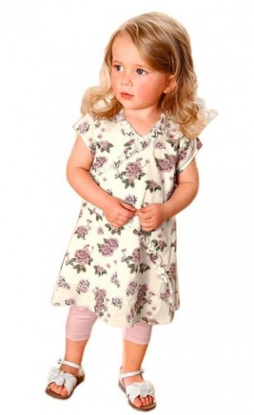 Kleid mit Rüschen, ecru-bunt von Klitzeklein