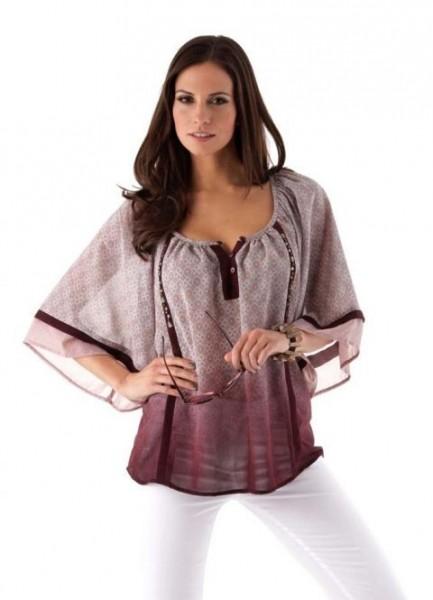 Chiffon-Bluse mit Steinen, mauve-bunt von Aniston