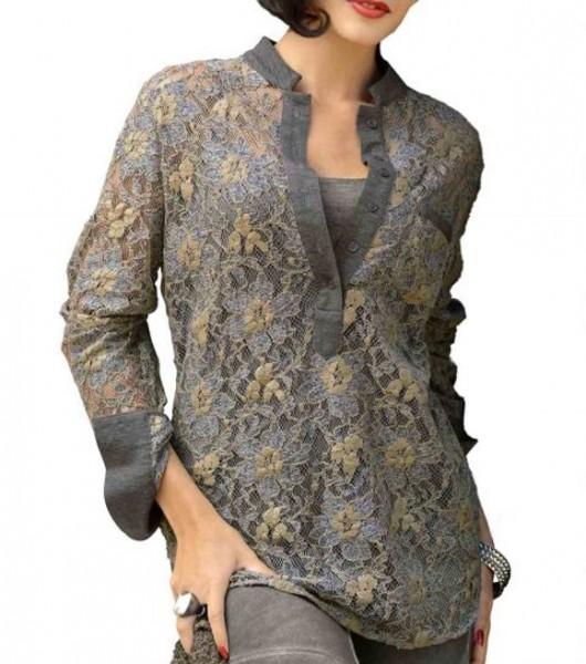 Spitzenbluse, grau-khaki von Alba Moda
