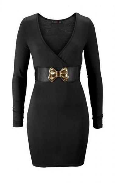Kleid mit Gürtel, schwarz von Melrose