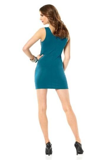 Kleid, petrolgrün-schwarz von Laura Scott