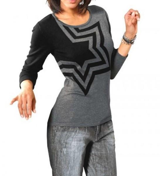 Intarsien-Pullover, grau-schwarz von Heine - Best Connections