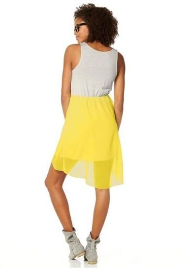 2-in-1 Chiffon-Kleid, grau-gelb von AJC