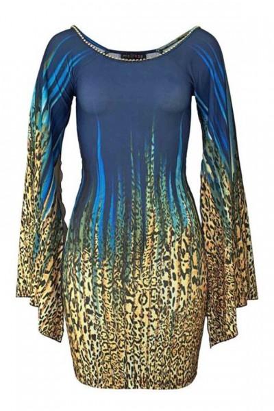 Leomuster-Kleid mit Strass, blau-bunt von Melrose