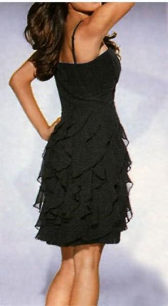 Georgette-Volantkleid, schwarz von Heine
