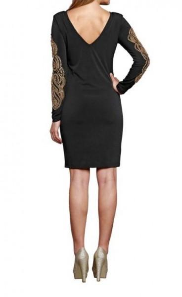 Kleid mit Perlen, schwarz-gold von APART
