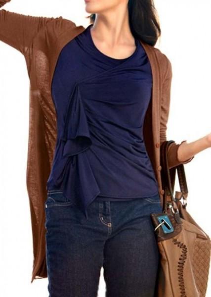 Shirt mit Drapierung, marine von Travel Couture by Heine