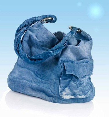 Leder-Tasche, blau von URBAN VINTAGE