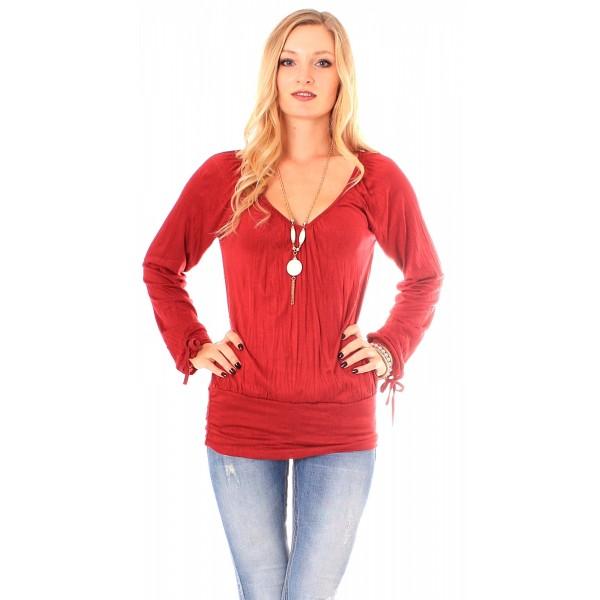Langarm Crashoptik Shirt mit Halskette Rot